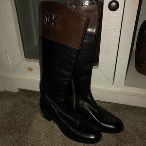 Michael Kors Tall Black/ Brown Riding Boots Sz8.5